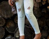 girls ivory lace cut out leggings LIMITED EDITION