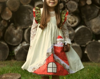 Girl's Up on the Roof Top Christmas Dress