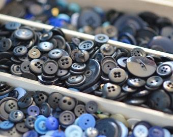 Black button lot, button destash, craft lot, black buttons