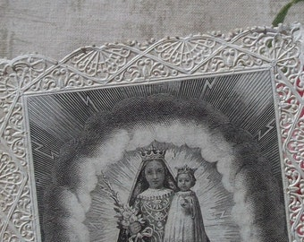 Beautiful Vintage French 1890s Holy Prayer Card Bible Markers Lace punched paper dentelle card Ermites