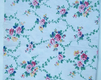 Antique French Fabric 1940s metic Cotton Sprigged Country Flowers and trailing leaves
