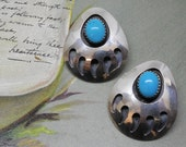 Native American Turquoise & Sterling Bear Claw Earrings