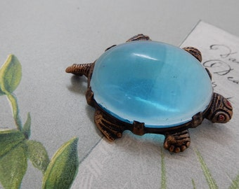 Vintage Blue Lucite Jelly Belly Turtle Brooch
