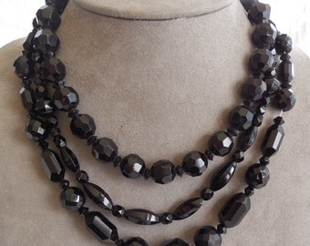 3 Vintage Faceted Black Glass Bead Necklaces    MAH48