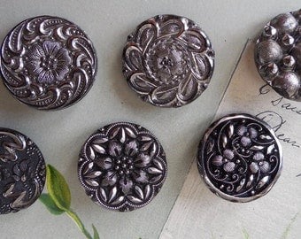 """Lot of 6 Assorted Silver Luster Victorian Black Glass Buttons 7/8"""""""
