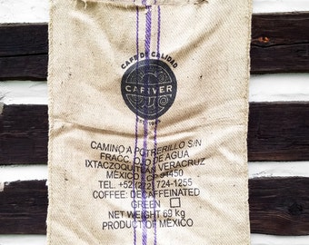 Vintage Cafe De Calidad Coffee Burlap Sack with Tribal Graphics; Industrial Tropical Wall Hanging