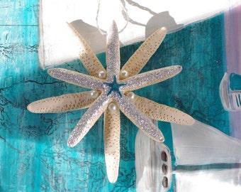 Triple Starfish Ornament - Beach Decor - Coastal Christmas