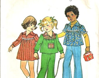 Simplicity 7689 Childs Dress, Smock Top, Pants  Size 4 Vintage 1970's Clearance Sale Pattern Destash