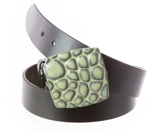 Handmade Stoneware Pottery Belt Buckle in Lagoon Glaze. Square river pebbles texture. Buckle only. Belt sold separately.