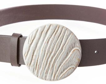 "Handmade Stoneware Belt Buckle in Limstone white glaze. 3"" Circle, woodgrain texture. Buckle only. Belt sold separately."