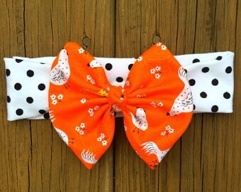 Orange Bow Girls  Headband White Black Polka  Polka Dot  Headband, Baby headband.   Baby  Headband, Cotton Headband, Girls   Headband.