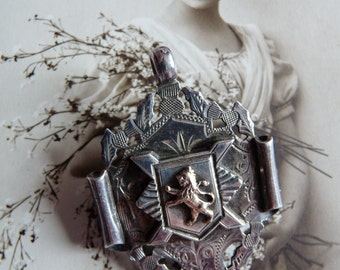 Edwardian Sterling and 9ct 9K Albert Fob Brooch Pendant ~ Solid 12 Grams ~ William Hair Haseler England