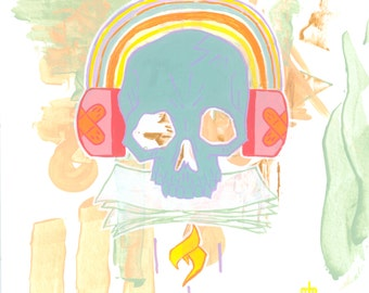 Rainbows / 12 x 12 in. Art Print | colorful rainbow pastel goth hipster skull painting