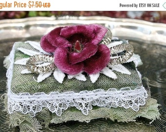 ON SALE Tiny Embellised Box with Millinery - Purple Velvet Violet and Silvered Leaves - Gift Box