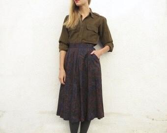 Skirt Paisley High Waist Wool sz. S