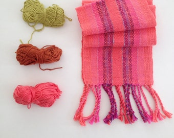 Handwoven Bright Coral Scarf