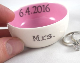 HANDMADE custom text color options gold or silver luster rim-personalized bridal shower gift, wedding date, initials, engagement ring holder