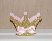 Set of 3 Pink and Gold Glitter Crown Shaped Favor Boxes