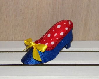 Snow White Collection Blue, Red and Yellow Low Heel Paper Shoe Favor Box