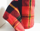 Vintage, Check Plaid, Tartan, Stadium Blanket Throw, Red, Black, Plaid, Unmarked, Acrylic, 48 x 55