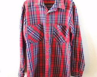 Vintage, Big Mac, For JC Penney, Red, Plaid, Flannel, Mens Large, Work Shirt, 70s, Hipster, Fashion