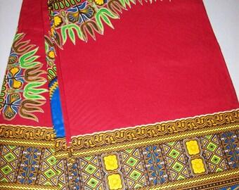 Red  with Blue Dashiki Fabric 6 yards wholesale/ Dashiki clothing/ Wide panel dashiki/ Dashiki Skirt/ Kitenge fabric/ Dashiki fabric