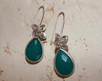 Teal Stone and Flower Earrings
