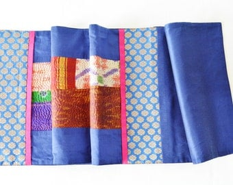 Beautiful Blue Vintage Sari Kantha Patchwork Table Runner , Dining and Entertaining, Kitchen and Housewares