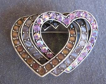 Rhinestone Brooch, Liz Claiborne Jewelry, heart brooch, heart jewelry, Liz Claiborne brooch, designer signed jewelry, designer signed brooch