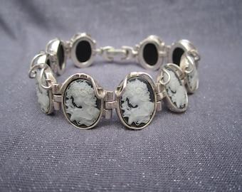 Cameo Bracelet, sterling silver cameo bracelet, black and gray cameo, vintage cameo, linked cameo bracelet