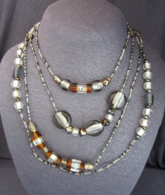 Long Silver Foiled Glass Bead Necklace, mixed beads, wrap necklace