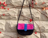 Clutch Handbag Shoulder Bag, Fushcia, Blue, Black, 80s, Retro Purse, 90s,