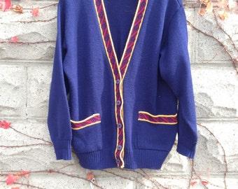 Cardigan Grandpa Sweater, School Cardigan, Blue Sweater, Preppy Cardigan, Medium Sweater, Made in USA, Harry Potter Sweater, Private School