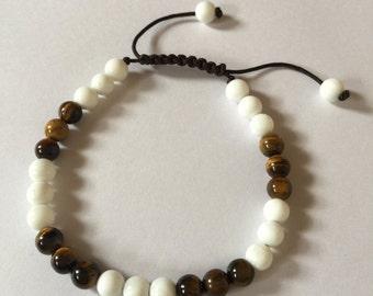 Tibetan mala Tiger Eye Conch Shell wrist mala yoga bracelet for meditation