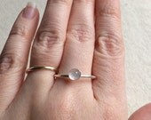 5mm Rose quartz round rose cut ring in 925 Sterling Silver setting size 9