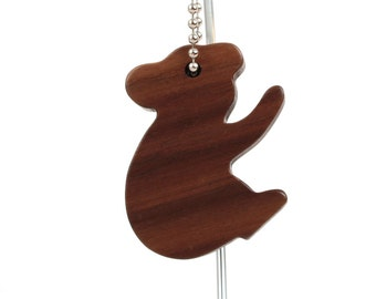 Koala Key Chain Wood Scroll Saw Australian Animal Outline Silhouette Key Ring Walnut