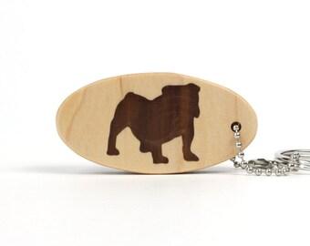 English Bulldog Key Chain Wood Scroll Saw Bullie Key Fob Dog Breed Key Ring Bulldog Key Fob Walnut Hand Cut
