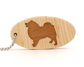Keeshond Key Chain Wood Dog Key Ring Wooden Pet Key Chain Keeshond Dog Accessories Scroll Saw Dog Breed Key Chain Cherry Hand Cut