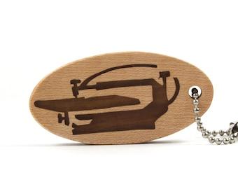 Scroll Saw Key Chain, Woodworking Tool Key Ring, Workshop Fey Fob, Wood Shop Accessory Walnut