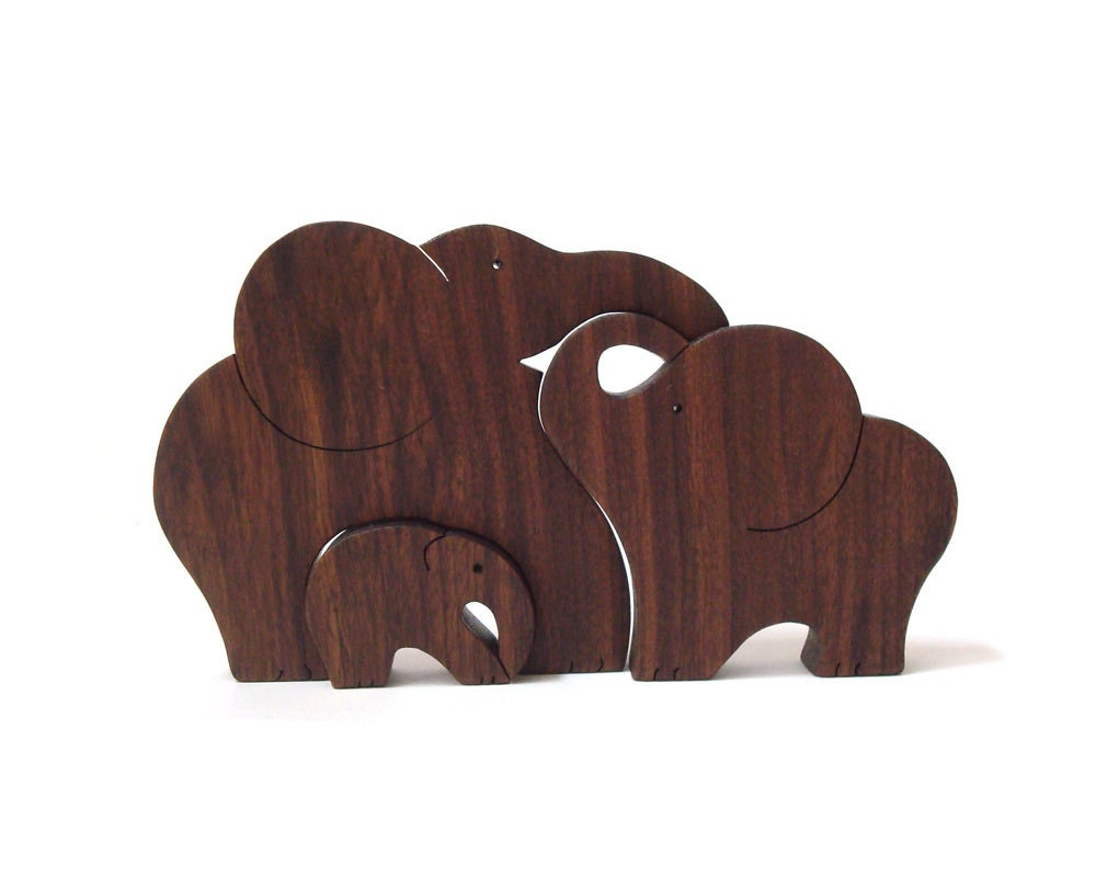 Wood Elephant Family Puzzle Wooden Toy Zoo Animal Puzzle