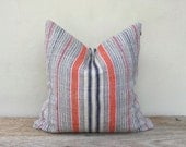 """Stripe Pillow Case Nature Hemp Hand Woven  A Piece Of Vintage Tribal Textile 20"""" x 20"""" Reverse made of same fabric"""