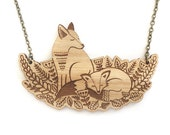 Foxes in the forest necklace ~ woodland laser cut necklace