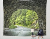 Tapestry, Tunnel, Road, Wall Hanging, Nature Tapestry, Tunnel, Forest, Road, Green, Evergreen, Trees, Green, Brown, 3 Sizes