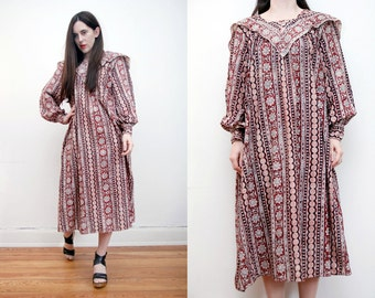 Vintage  Indian Cotton Kaftan Ethnic Print Batik Hippie Kaftan Boho Maxi Dress 70's