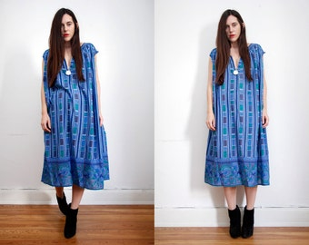 FREE SHIPPING Vintage Indian Floral Gauze Cotton Boho Dress Grecian Hippie Dress 70's