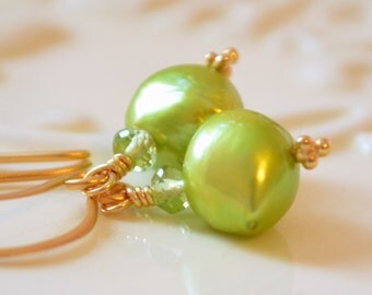 Chartreuse Earrings, Genuine Freshwater Pearl, Wasabi Lime Green Peridot, Birthstone, Gemstone, 24K Gold Vermeil Jewelry, Free Shipping