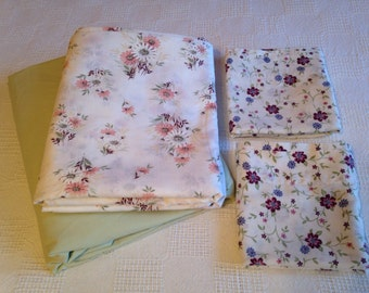 Vintage Full Size Sheet Set Pink Purple and Green Flowers with TWO Pillowcases Cottage Style