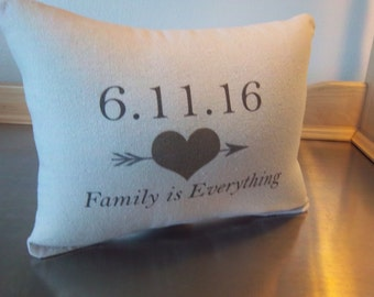 Anniversary date throw pillow custom newlywed gift 2nd anniversary cotton pillow personalized gift love quote cushion home decor gifts