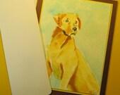 """LABRADOR RETRIEVER CARD, Original Handmade Watrcolor (""""Blank Inside"""")"""