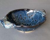 Large Berry Bowl Collander Strainer Swirl Handles Twilight Blue
